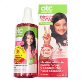OTC Antipiojos Pack spray fórmula total 125 ml + Spray desenredante fresa 250 ml